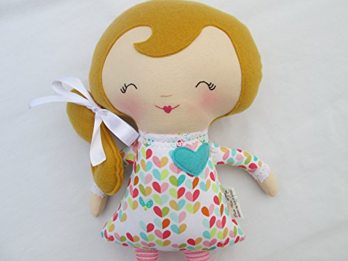 Blonde Soft Doll with Colorful Hearts outfit and pink striped -
