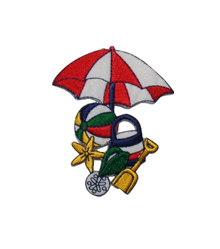 (ID #1799 Beach Scene Toys Umbrella Ball Embroidered Iron On Applique Patch)