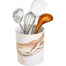 Porcelain Kitchen Utensil Holder 7 Inches Tall - Desert Brown Decorative Marble Crock Utensils Holder, Art and Office Supplies Holder - By Marbelous