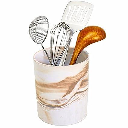 Porcelain Kitchen Utensil Holder 7 Inches Tall   Desert Brown Decorative  Marble Crock Utensils Holder,