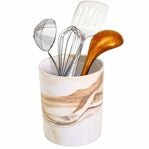 Porcelain Kitchen Utensil Holder 7 Inches Tall - Desert Brown Decorative Marble Crock Utensils Holder, Art and Office Supplies Holder - By (Brown Crock)