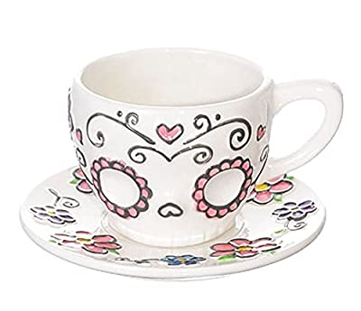 Ceramic Sugar Skull Teacup and Saucer Set in Gift Box