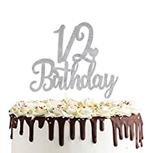 1/2 Birthday Cake Topper Double Sided Sliver Glitter 6 Months Half Birthday Baby Shower First Birthday Party Decorations