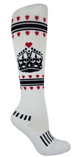 MOXY Socks White with Black Queen of Hearts Knee-High Fitness Socks ()