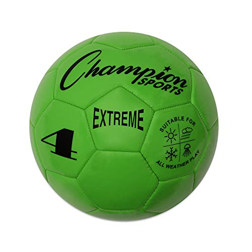 Champion Sports Extreme Series Soccer Ball, Size 4 - Youth League, All Weather, Soft Touch, Maximum Air Retention - Kick Balls for Kids 8-12 - Competitive and Recreational Futbol Games, Green
