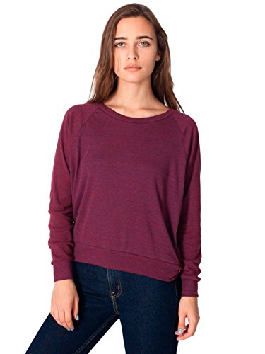 American Apparel Women's Tri-Blend Rib Light Weight Raglan Pullover, Tri/Cranberry, (American Apparel Flex Fleece Hoodie)