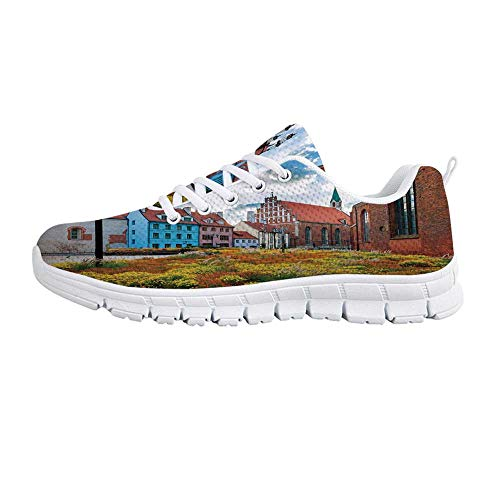 YOLIYANA Victorian Decor Lightweight Walking Shoes,Old City Riga Latvia Capital with Historical Buildings Medieval Town Decorative Sneakers for Girls Womens,US Size 8 ()