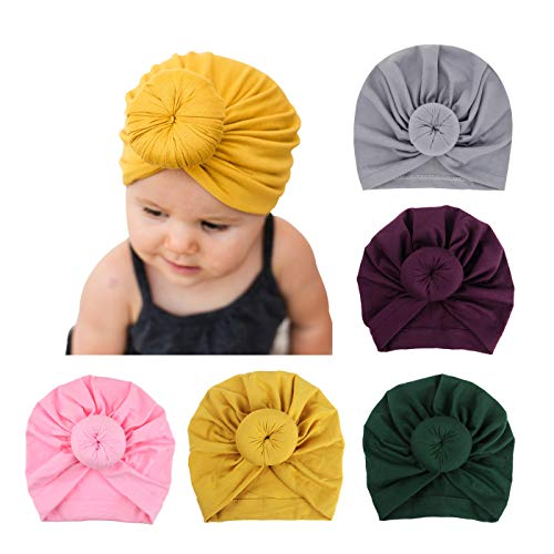 Baby Knot Hat - BQUBO 5 Pieces Cute Turban Hats for Baby Girls Vintage Soft Bun Knot Infant Toddler Baby Cap