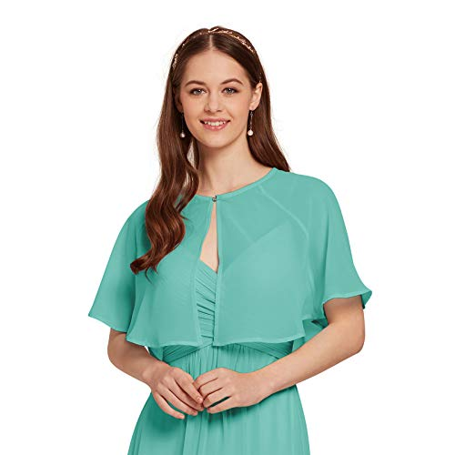 AW Women's Chiffon Wrap Shawl Shrug Sheer Wedding Cape Bolero Jacket for Bridesmaid, Tiffany, M -