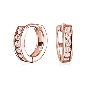 Rose Gold Vermeil Small Simulated Morganite CZ Huggie Hoop Earrings Sterling Silver