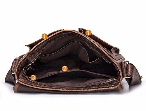 Satchel hombres cuero retro de cubierto Wearable solo Surnoy pulgadas Enkephalin estilo Brown de hombro bolso Cruz Brown de moda Los 13 Brown 50xwpq6