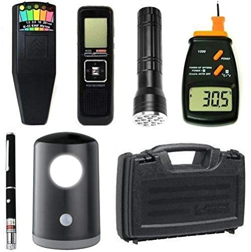 PARANORMAL-ITC Premium Ghost Hunting Kit + K2 Meter EMF Detector + Digital EVP Recorder + Laser Grid Pen + Equipment Case + More]()