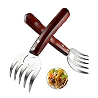 AIYUE Meat Shredding Claws, Stainless Steel Pulled Pork Shredder Meat Claws for BBQ, Shredding, Pulling, Handing, Lifting & Serving Pork, Turkey, Chicken with Long Wood Handle (2 PCS,BPA Free)
