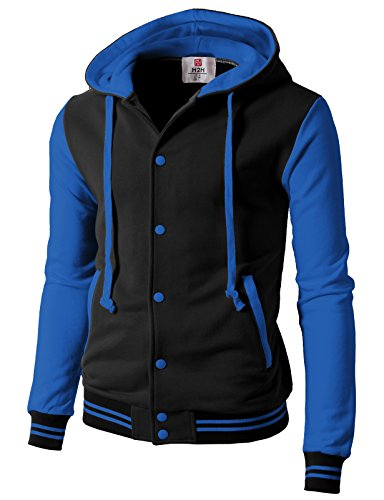 H2H Men's Casual Cotton Varsity Full Zip Hooded Jacket BlackBlue US L/Asia XL (CMOJA099)