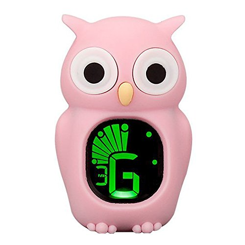 Luvay Clip-On Pink Tuner with Guitar, Bass, Ukulele, Violin, Chromatic Tuning Modes - Cartoon Owl