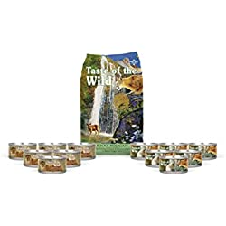 Taste of the Wild Cat-Food Rocky Mountain Grain Free 5 lb Dry 6 cans of Rocky Mountain 6 cans Canyon River Wet Cat Food