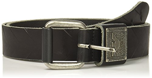 Armani Exchange Men's Pull Up Leather Eagle Loop Belt, Black, III
