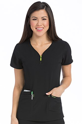 (Med Couture Women's 'Air Collection' Front Zip Zippity Scrub Top, Black/Apple, Small)