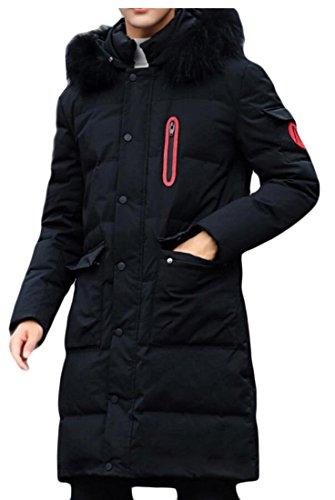 Overcoat amp;W Coat Warm Faux M Fur Slim amp;S Men's Winter Black Hoodie Jacket Long a7B17qg