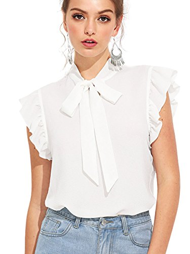 (Romwe Women's Summer Cap Sleeve Ruffle Bow Tie Blouse Top Shirts White XS)