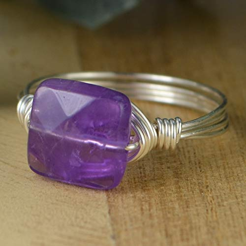 Square Amethyst Gemstone Bead and Sterling Silver or Gold Filled Wrapped Ring- Made to size 4-14