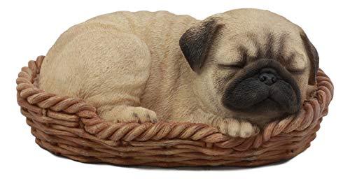 Ebros Realistic Lifelike Pug Dog Sleeping in Wicker Basket Statue 6.25