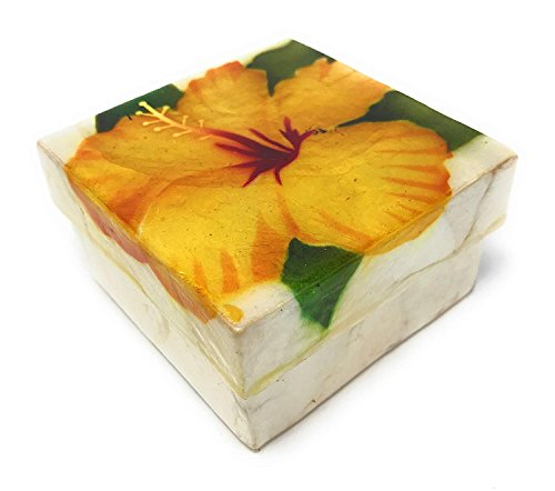 Kubla Crafts Yellow Hibiscus Capiz Shell Keepsake Box, 3 Inches X 3 Inches