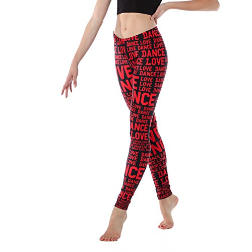 Alexandra Collection Youth Athletic Love Dance Leggings Black/Red Medium