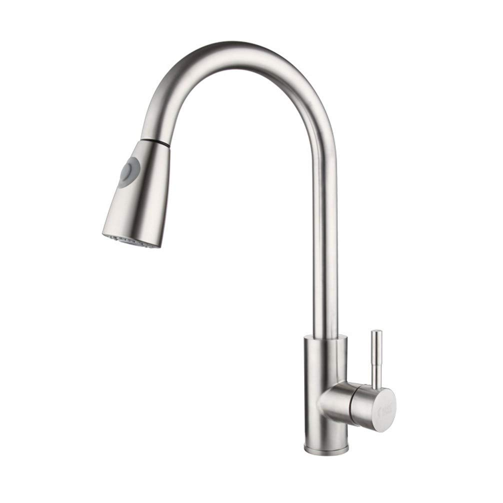 Drawing AiJiaL Tap Kitchen Sink Taps,Kitchen Single Handle Telescopic Faucet Hot And Cold Stainless Steel 360° Free redating Faucet Brushed