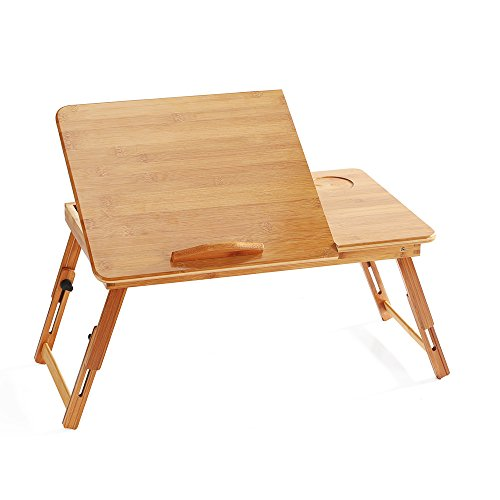 bestcatgift 100% bambú plegable ajustable computadora para computadora, para computadora portátil bandeja de desayuno Servir la cama W 'inclinable y cajón. Bambú Lapdesk Portable mesa para computadora portátil., Bamboo-b, 1