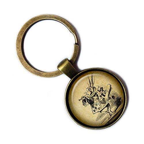 Alice in Wonderland White Rabbit Trumpet Bronze Keychain Keyring