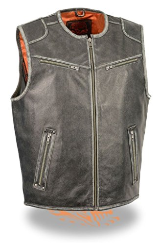 (MEN'S MOTORCYCLE VINTAGE DISTRESSED GREY ZIPPER FRONT BUTTER SOFT LEATHER VEST ( M Regular))
