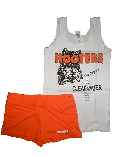 Hooters New Girl Uniform Tank/Shorts Florida Small Halloween Costume White Orange