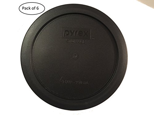 Pyrex 7201-PC 4 Cup Round Storage Cover for Glass Bowls (6, Black)