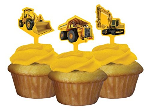 Club Pack of 144 Construction Birthday Zone Party Decorating Cupcake Dessert Toppers