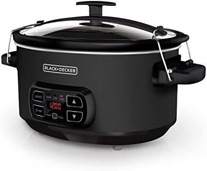 BLACK+DECKER 7-Quart Digital Slow Cooker with Chalkboard Surface, Slate, SCD4007