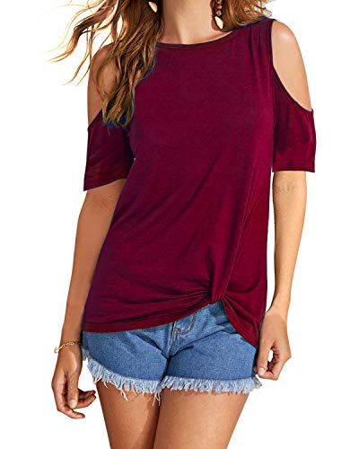 Eanklosco Women's Cold Shoulder Top Casual Short Sleeve Twist Knot Front Shirt Summer Tunic (S, Wine Red)