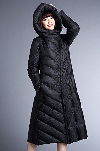 FARCOKO 2017 Winter Women's Down Jacket Slim Hooded Down Jackets Thickening Warm Woman Down Coat (Black, XL) by FARCOKO (Image #1)