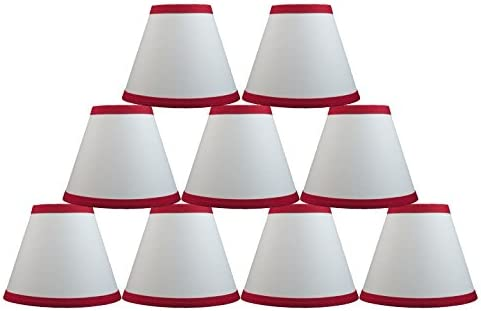 Urbanest White Cotton Chandelier Lamp Shade, 6-inch, Hardback, Clip on, Red Trim, Set of 9