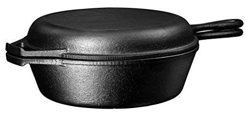 Ultimate Pre-Seasoned 2-In-1 Cast Iron Multi-Cooker By Bruntmor – Heavy Duty 3 Quart Skillet and Lid Set, Versatile Healthy Design, Non-Stick Kitchen Cookware, Use As Dutch Oven Frying Pan by Bruntmor (Image #1)