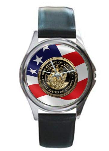 USN US Navy Emblem and American Flag Unisex Round Dial Leather Band Fashion Wrist Metal -
