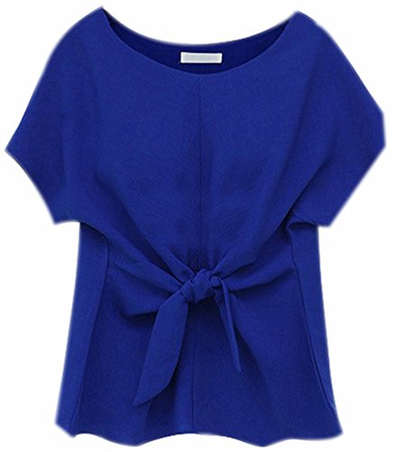Top Blouse Chemisier Marin Bleu Chemisiers Shirts Courte Shirt Mousseline Chiffon Fuxiang N Chic Col ud avec Rond Casual Chemise T Femme Manche Chemisiers Femmes WIUpqFx