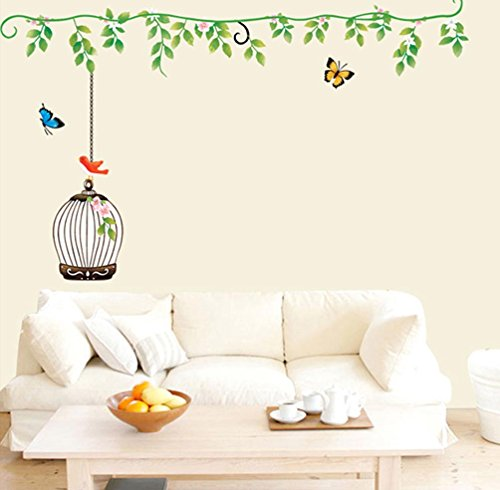 - BIBITIME Green Vine hanging Flower Birdcage with a Bird 2 Butteflies Wall Sticker Decor Decals for BedRoom, DIY Size: 57.09 34.25 IN