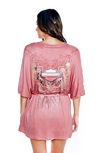 (Harley-Davidson Womens Floral H Core B&S Tie Waist Kimono Pink Robe)
