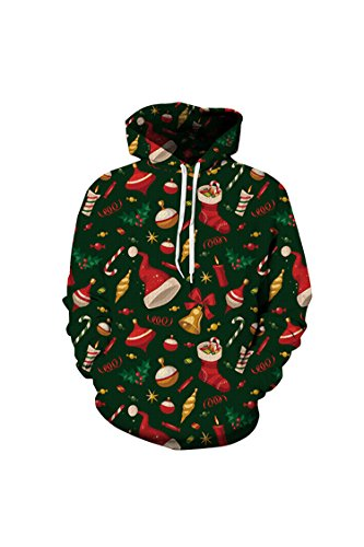 Lacostew Unisex Christmas Candy Cane Print Pullover Hoodie Green M