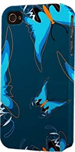Blue Butterfly Pattern Dimensional Case Fits Apple iPhone 4 or iPhone 4s