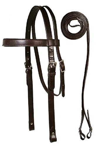 Paris Tack Heavy Browband Draft Bridle with Reins, Draft, Havana