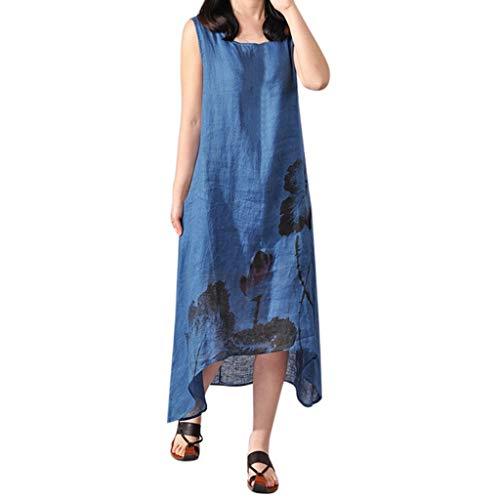 (KESEELY New Cotton Linen Dress for Women Vintage Floral Asymmetrical Kaftan A-line Long Maxi Vest Dress)