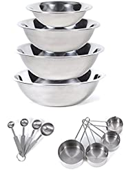 CucinaPrime Stainless Steel Mixing Set Mixing Bowls (1.5, 3, 4, and 5 Quart) Measuring Cups and Measuring Spoons
