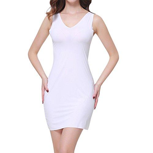 SJINC Women's Full Slip Short Seamless V Neck Stretch Semi-Sheer Sleepwear Dress,White,Tag size L=US size Medium (Slip Camisole Stretch)